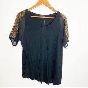 Topshop black top w/ gold beaded shoulders